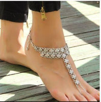 Bohemian Barefoot Sandals - Indian Antique Silver Plated Hollow Flower Chain