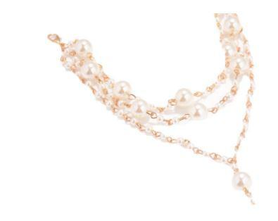 Beach Wedding Barefoot Sandals - Imitation Pearl strung on a gold chain
