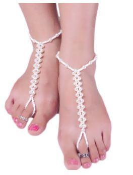 Bridal Barefoot Sandal with Simulated Pearls
