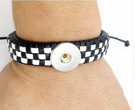 Leather  Woven 1 Button Bracelet - Snap Button - 18mm