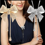 Adorable, Simple, Delicate, Classy - Rhinestone Crystal Bow Pendant - Sweater Chain