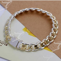 Silver Plated Bracelet with Gold Accent