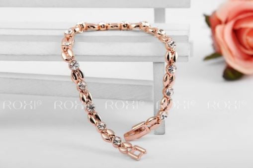 ROXI Exquisite Bracelet - Beautiful Box Type Chain with Inlaid Cubic Zirconia's