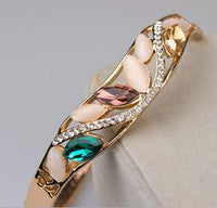 Elegant, Noticable - Gold Plated Oval Rhinestone Bangle
