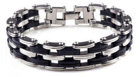 Stainless Steel & Silicone Men's Bracelet with Cross
