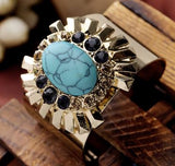 Turquoise Gem Wide Bracelet in Gold Color Alloy