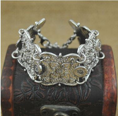 Boho Gypsy Look Carved Flower Silver Coin Statement Bracelet