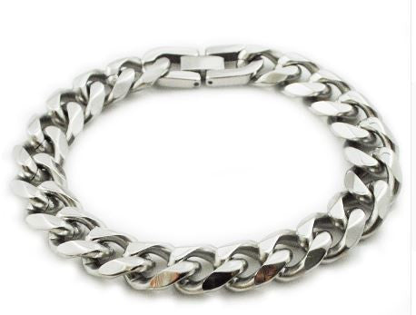 Stylish Men's Bracelet - Curb Link in Silver Stainless Steel