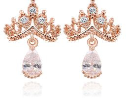 A Queen or A Princess - Imperial Crown Crystal Earrings