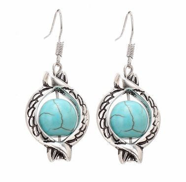 Tribal Style Silver Plated Round Turquoise Dangle Earrings