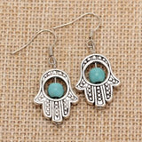 Vintage Tribal Silver Plated Palm Shaped Turquoise Earrings