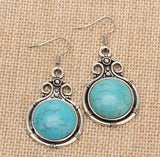 Tribal Antique Round Turquoise Dangle Earrings