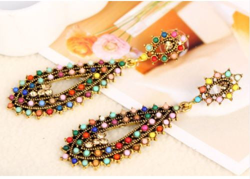 Colorful and FUN - Boho Rinestone Bead Earrings