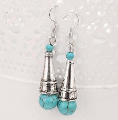 Tibetan Silver Plated Turquoise Microphone Shaped Dangle Earrings
