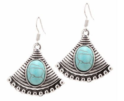 Tribal Fan with Oval Turquoise Gem - Dangle Earrings