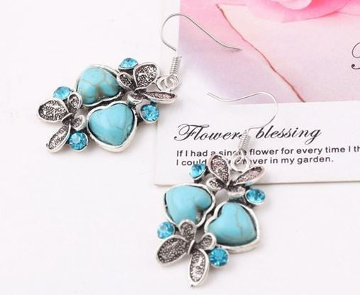 Adorable Butterfly Double Turquoise Gemstone Dangle Earrings