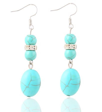 Decorative Turquoise Long Drop Earrings