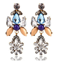 Attractive Dangle Earrings with Star Drop -  Golden Citrine, Blue and Diamond Crystals