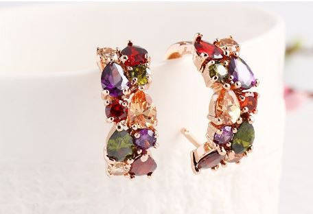 High Style Colorful Crystal Zircon Water Drop Geometric Earrings
