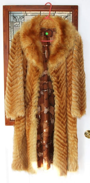 Vintage Ladies Golden Herringbone Fur Coat