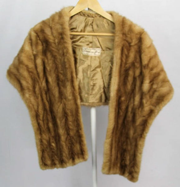 Vintage Ladies Honey Blonde Mink Fur Wrap
