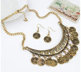 Turkish Fashionable Coin Style Choker Chain Necklace with Earrings