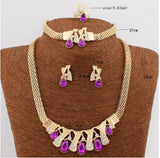 18k Gold Plated Water Drop Sparking Crystal Jewelry Set