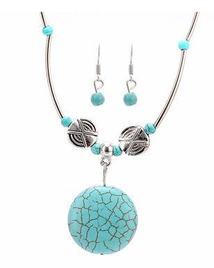 Tibetan Silver Plated Set - Round  Shaped Necklace with Dangle Earrings