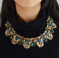 Sparkly Colorful Rhinestone Vintage Look Flowers - Choker Necklace
