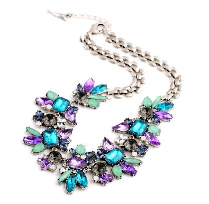 Colorful Blue Crystal Flower Antique Silver Plated Collar Pendant