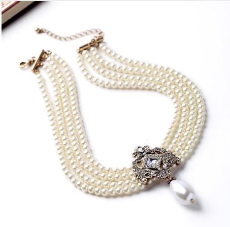Noble Multilayer Faux Pearl Bead Choker with Vintage Crystal Pendant