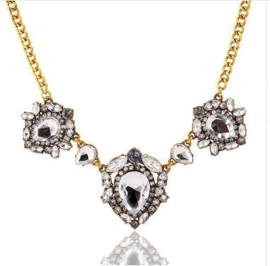 Vintage Sparking Crystal Heart Pendant - Link Chain Water Drop Pendants
