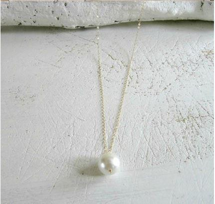 Delicate, Simple Gold Tone Chain with a Large Simulated Pearl Danging