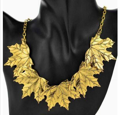 Gold Plated Bib Collar with Layered Maple Leaves