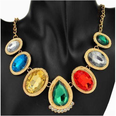 Trendy Stylish Colorful - Large Sparkling Gemstones Dropping from the Necklace Chain