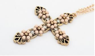 Classic Vintage Flower Cross Long Chain Pendant with Rose Colored Beading