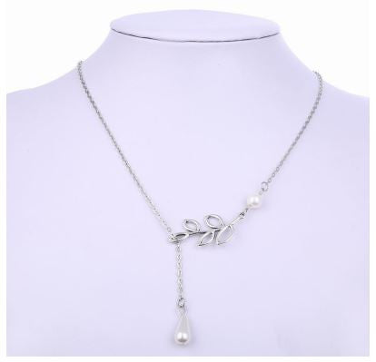 Hollow Leaf and Imitation Pearl Drop Necklace
