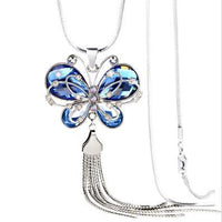 New Butterfly Rhinestone Crystal Long Chain Necklace