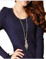 Trendy Peacock Colorful Crystal Long Sweater Pendants