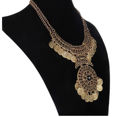 Fashionable Bohemian Gypsy Double Chain Coin Maxi Choker Collar