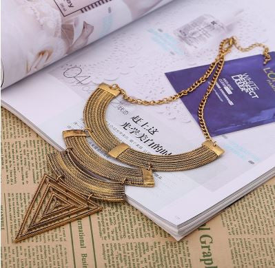 Ancient Ethnic Geometric Triangle Maxi Necklace