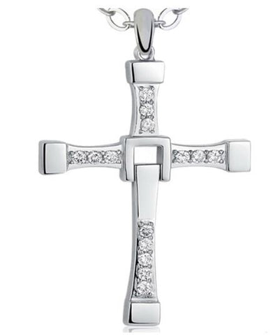 Captivating Cross-Silver Plated Jesus Pendant-Accented with Cubic Zirconias