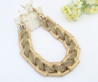 Statement Necklace - Channel Big Gold Chain Collar Choker