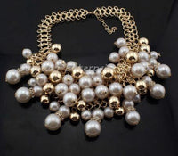 Imitation Pearl Cluster Fashion Collar Choker with Gold Chain