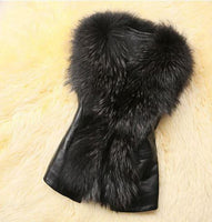 Ladies Show Stopper Leather Vest with Fluffy Fur Collar