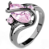 Unique and Luxurious - 10ct Oval Pink Sapphire Black Gold Filled Crossed Ring