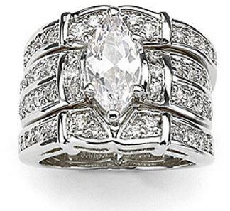 Lovers Topaz Diamonique 14KT White Gold Filled 3 Wedding Ring Set