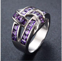 Elegant Amethyst Baguette Band with Crossed Design - Gold Filled
