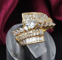 18K Gold Plated - Swiss CZ Diamond Ring - Stunning Cocktail or Wedding Ring