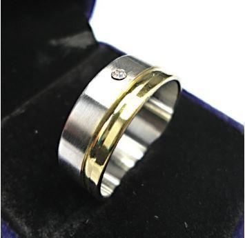Handsome Men's Stainless Steel Band with Gold Plated Edge and CZ in Center